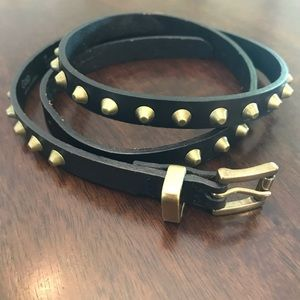 Gap Black Genuine Leather Belt with Studs